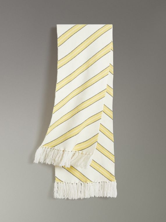 Tri-tone Striped Wool Cashmere Scarf in Natural White