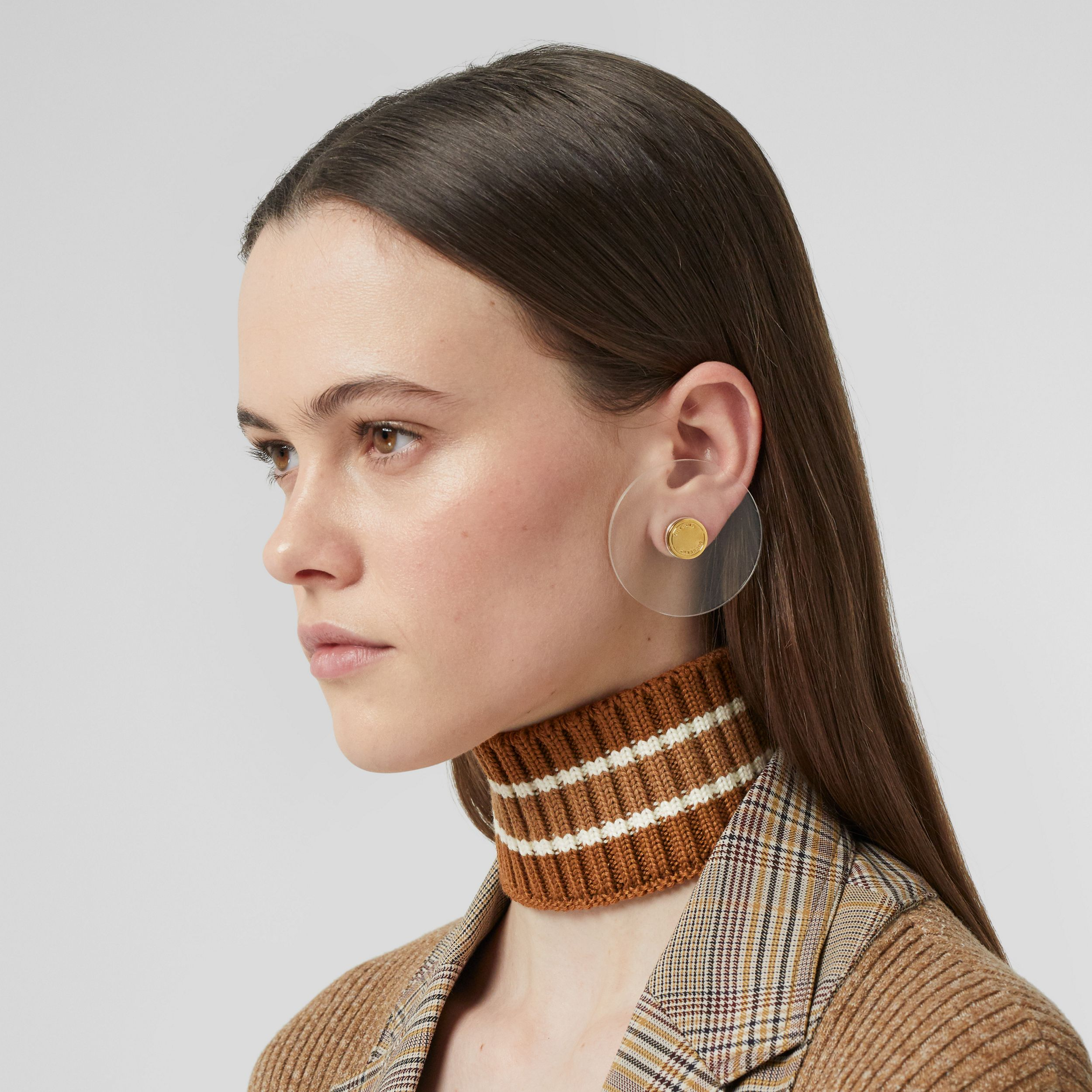 Rib Knit Technical Wool Collar in Brown | Burberry Australia - 3