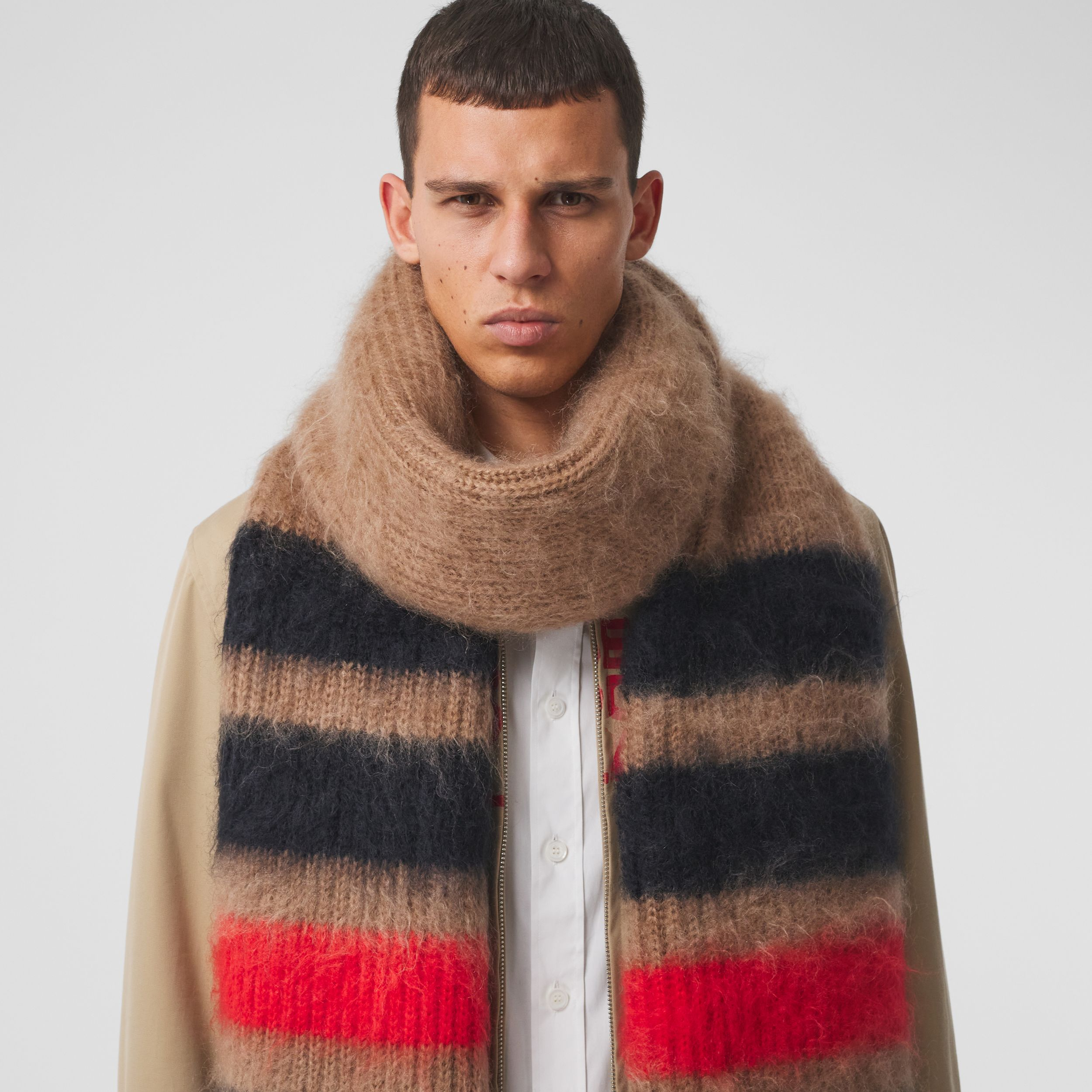 Striped Knitted Mohair Silk Scarf in Warm Camel | Burberry Australia - 4