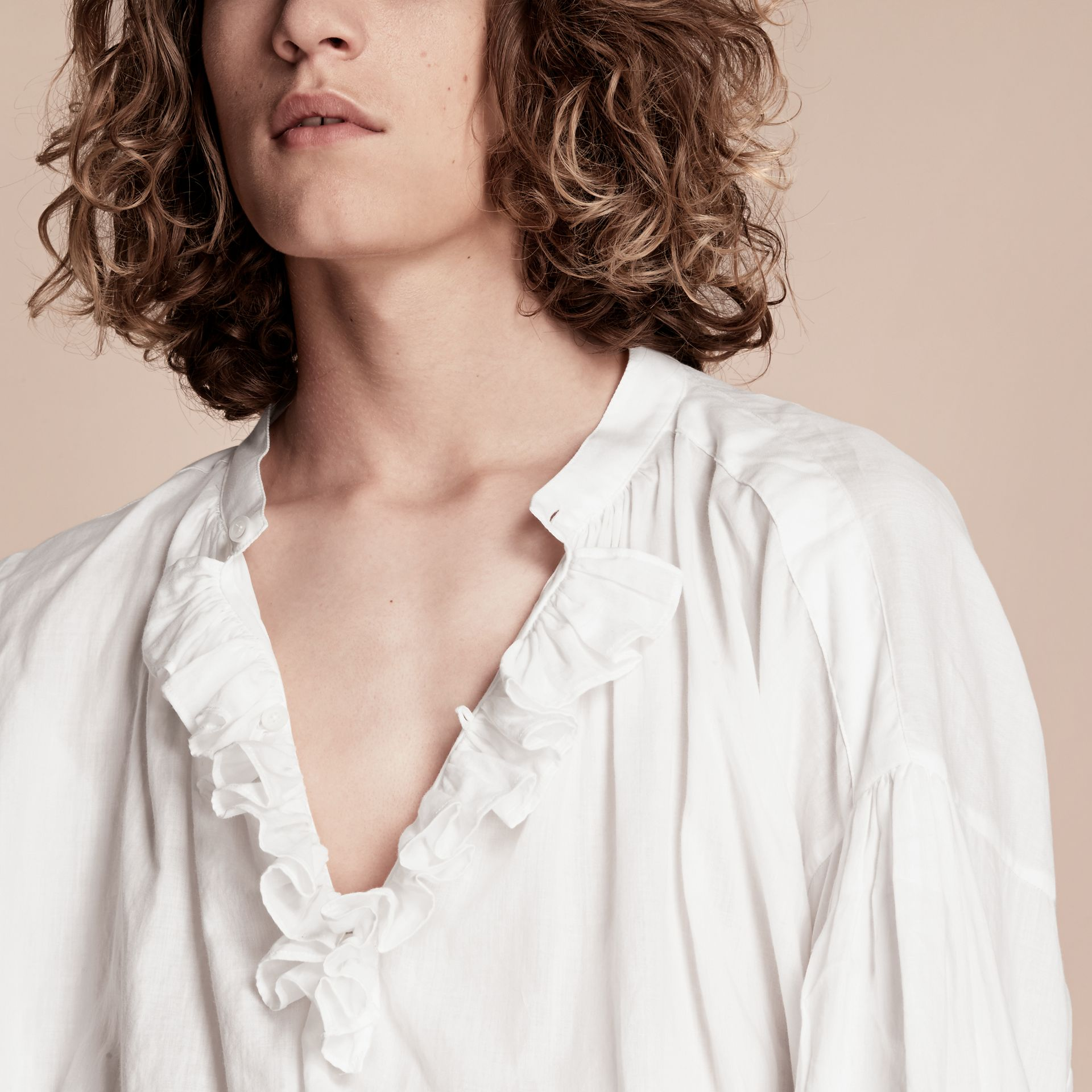 White Ruffle-trimmed Cotton Voile Tunic Shirt - gallery image 4