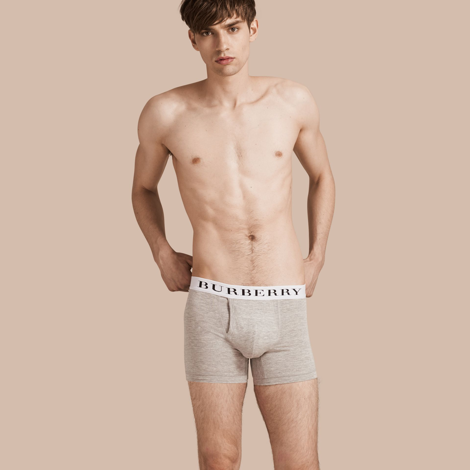 Stretch Cotton Boxer Shorts in Pale Grey Melange - Men | Burberry Singapore - gallery image 1