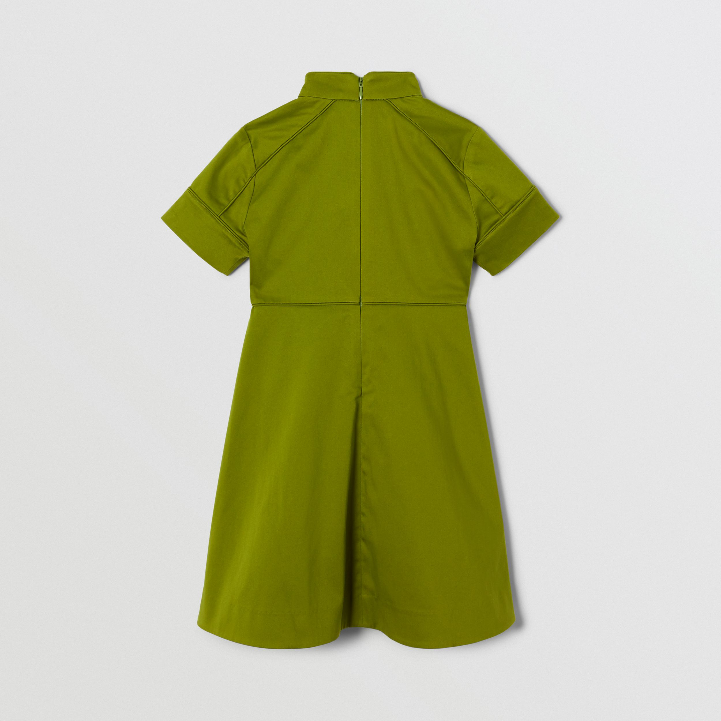 Short-sleeve Cotton Sateen Funnel Neck Dress in Bright Green | Burberry - 4
