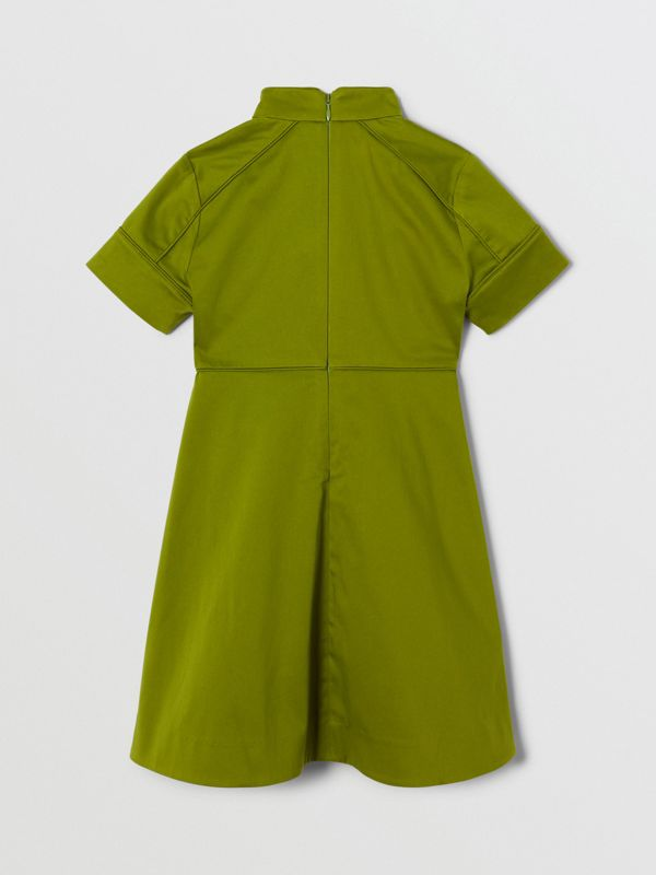 Short-sleeve Cotton Sateen Funnel Neck Dress in Bright Green - Girl | Burberry - cell image 3