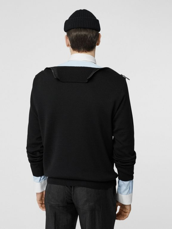 Zip Detail Wool Turtleneck Sweater in Black - Men | Burberry - cell image 1