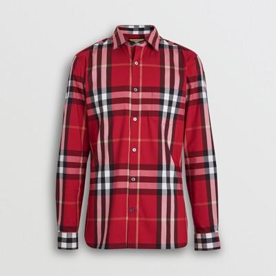 burberry red check shirt