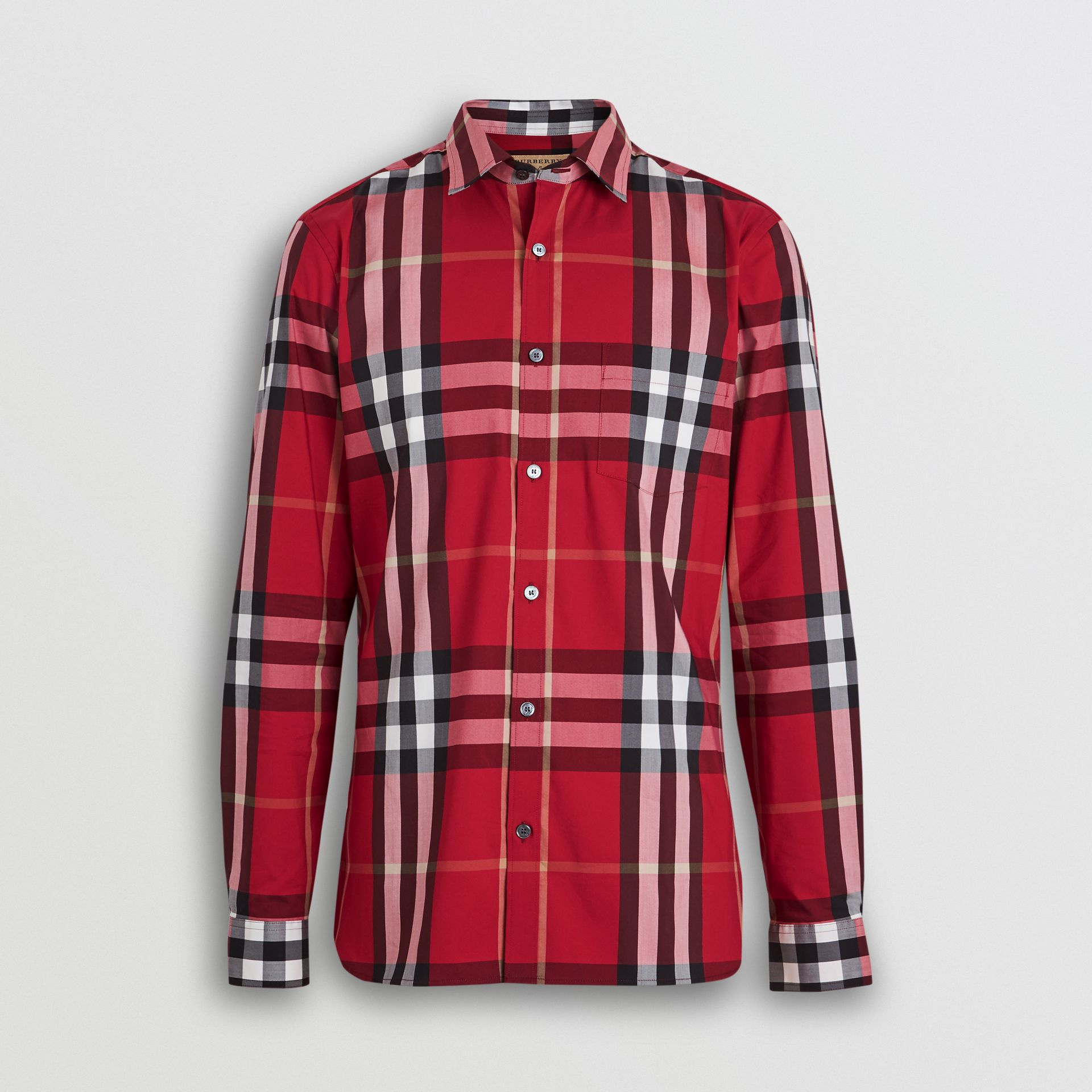 Check Stretch Cotton Shirt in Parade Red - Men | Burberry Singapore - gallery image 3