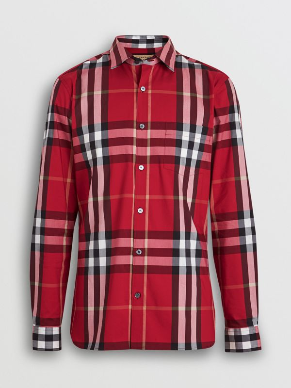 Check Stretch Cotton Shirt in Parade Red - Men | Burberry Hong Kong S.A.R - cell image 3
