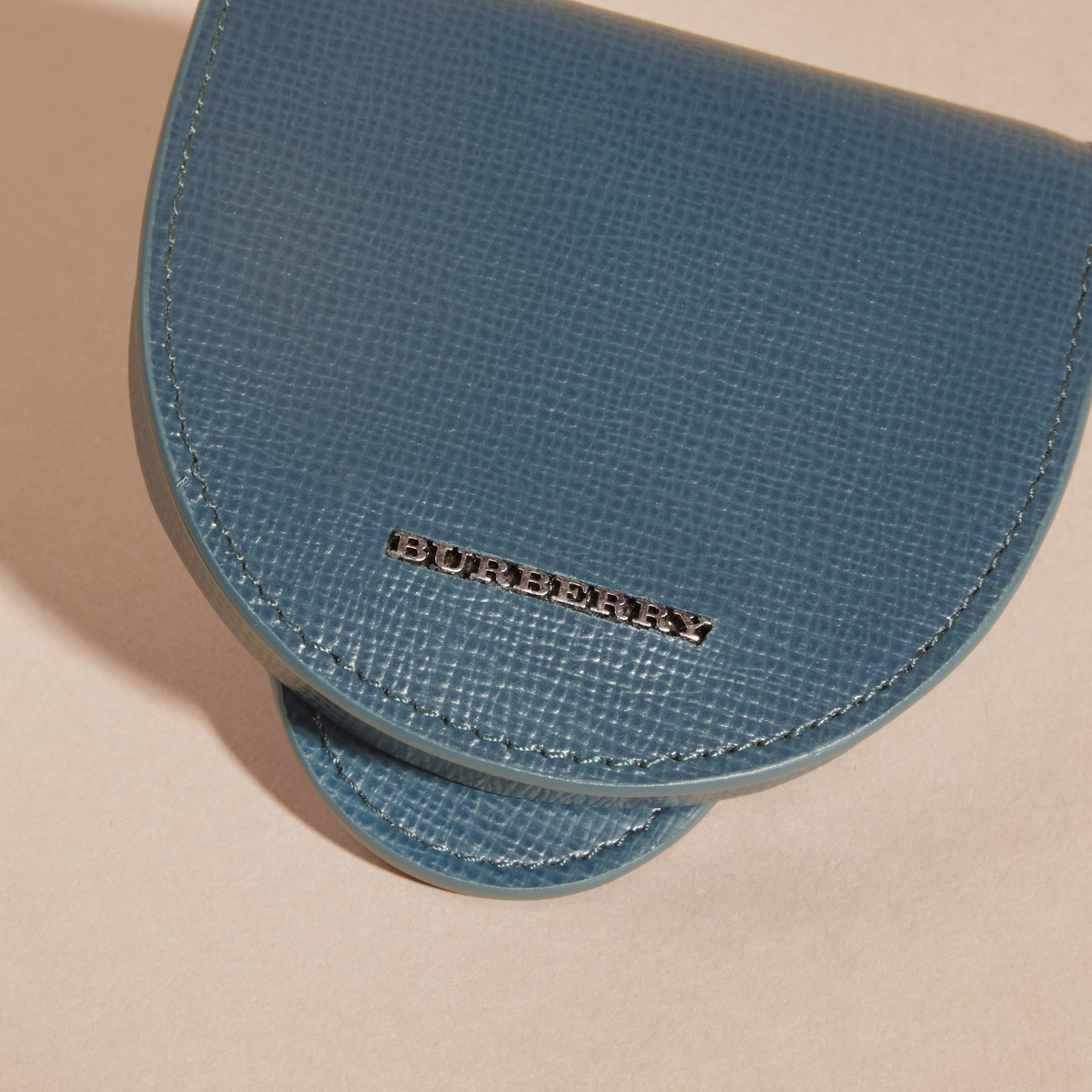 London Leather Coin Case in Mineral Blue - gallery image 2