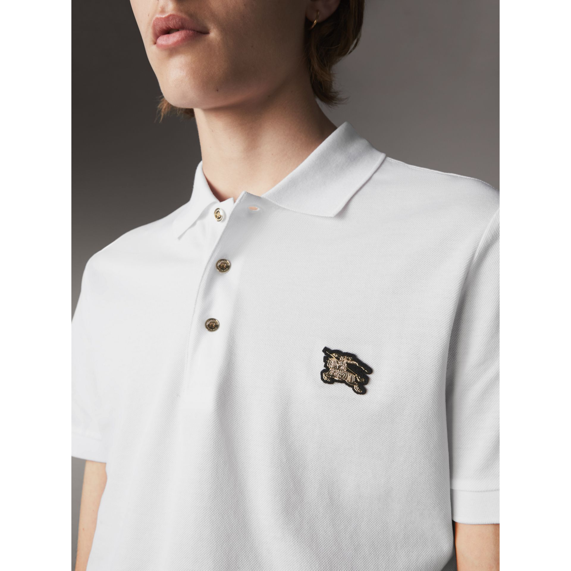Cotton Piqué Polo Shirt in White - Men | Burberry Australia - gallery image 2