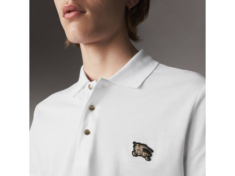 Cotton Piqué Polo Shirt in White - Men | Burberry Australia - cell image 1