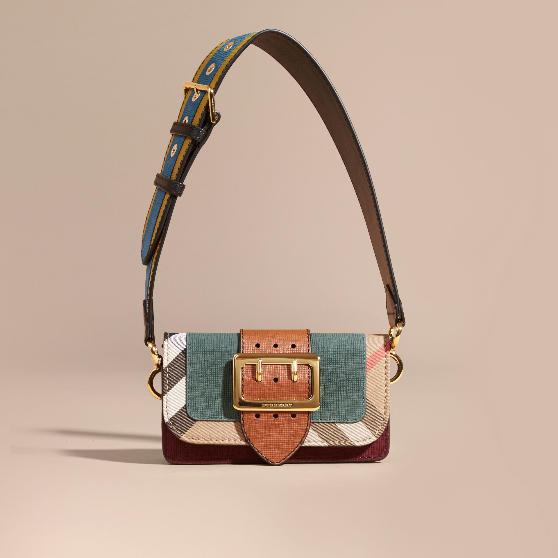The Small Buckle Bag in Suede and House Check Sea Green - gallery image 9