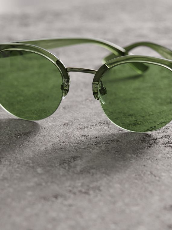 Check Detail Round Half-frame Sunglasses in Smokey Green - Women | Burberry - cell image 2
