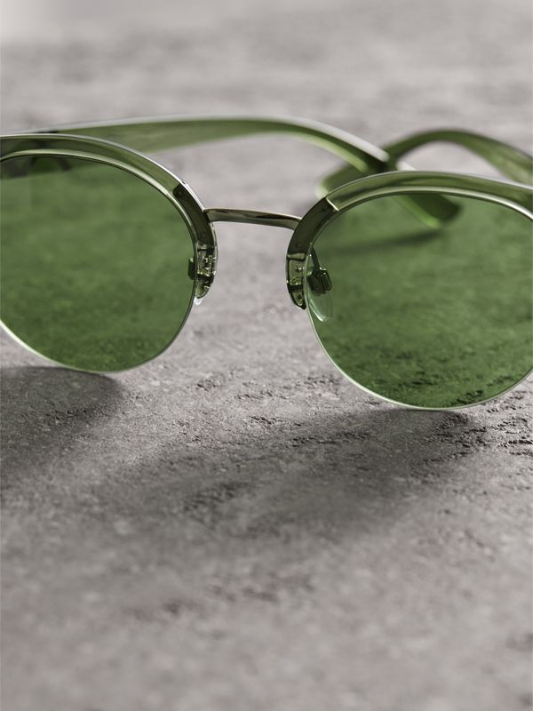 Check Detail Round Half-frame Sunglasses in Smokey Green - Women | Burberry United Kingdom - cell image 2