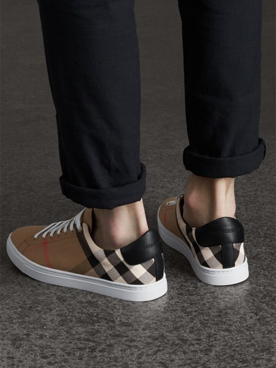 House Check Cotton and Leather Trainers in Check/black - Men | Burberry - cell image 2
