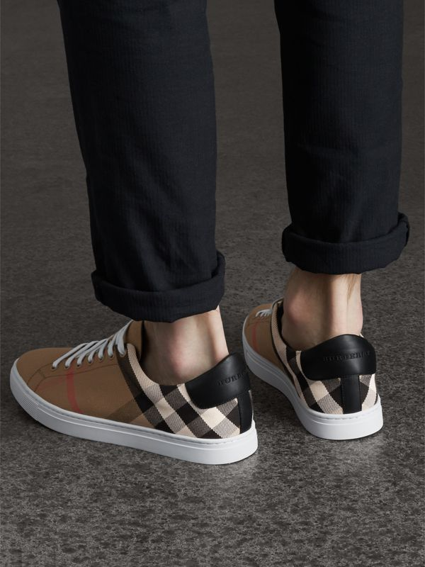 House Check and Leather Sneakers in Check/black - Men | Burberry - cell image 2
