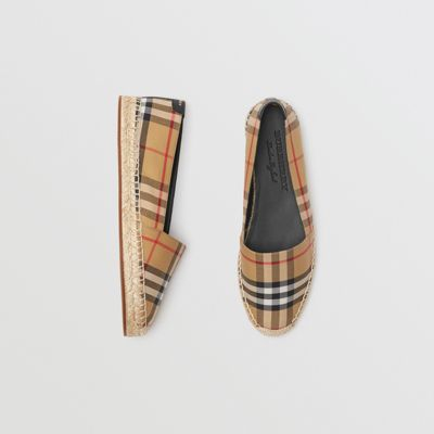 Vintage Check And Leather Espadrilles by Burberry