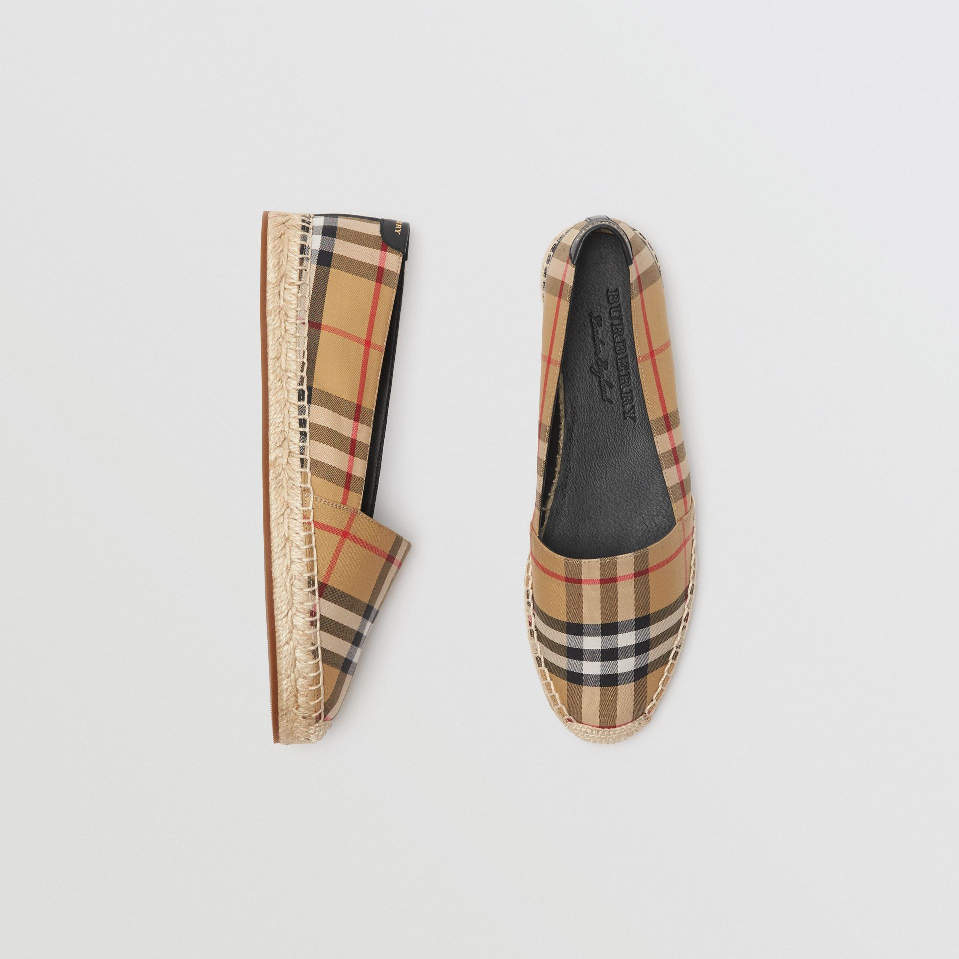Vintage Check and Leather Espadrilles in Antique Yellow - Women | Burberry Hong Kong S.A.R - gallery image 0
