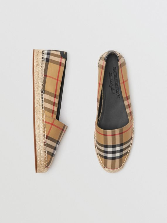 Vintage Check and Leather Espadrilles in Antique Yellow
