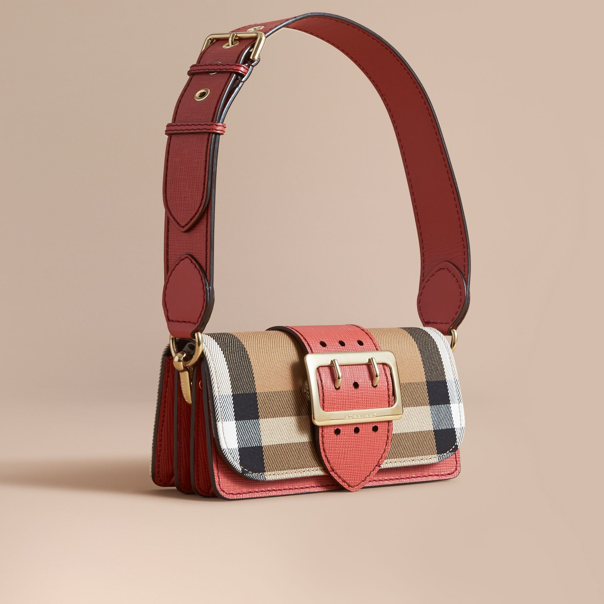 The Small Buckle Bag in House Check and Leather in Cinnamon Red - Women | Burberry - gallery image 0