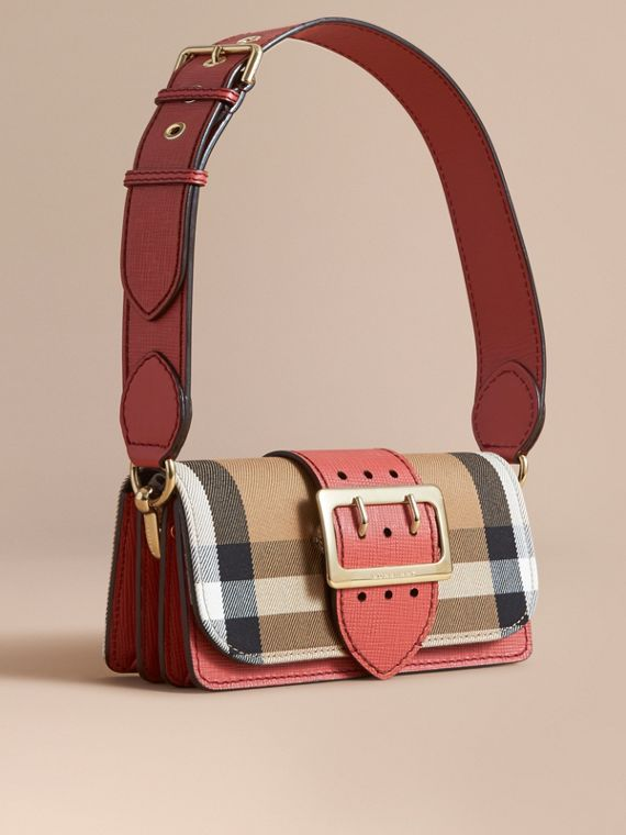The Small Buckle Bag in House Check and Leather in Cinnamon Red