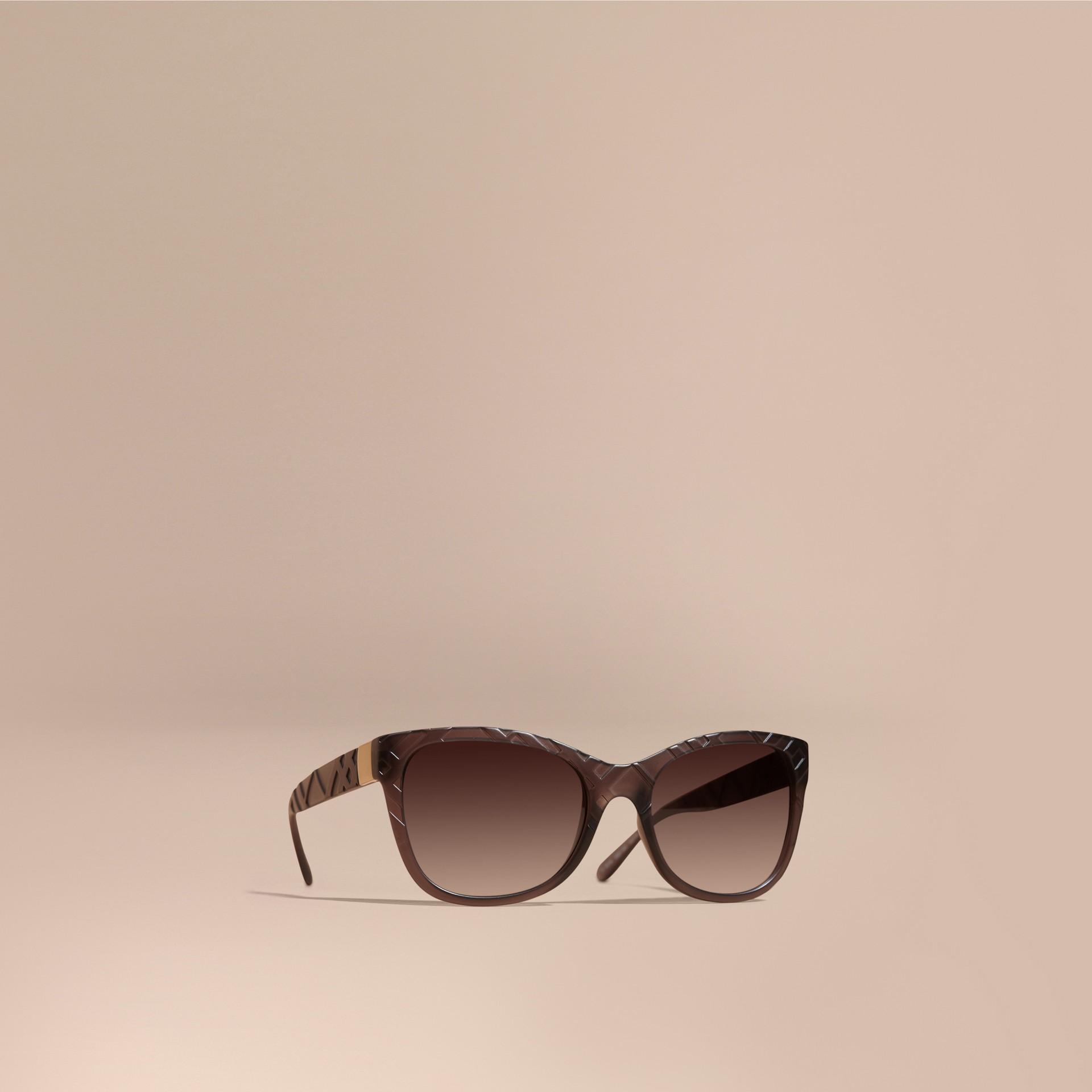 Black 3D Check Square Frame Polarised Sunglasses - gallery image 1