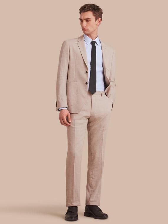 Modern Fit Cotton Linen Striped Shirt in Pale Opal Blue