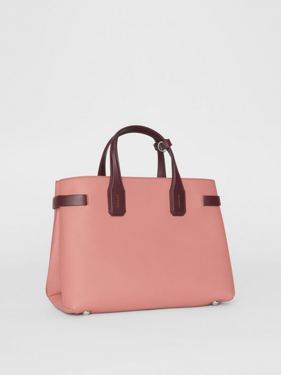 The Medium Banner in Two-tone Leather in Dusty Rose/deep Claret