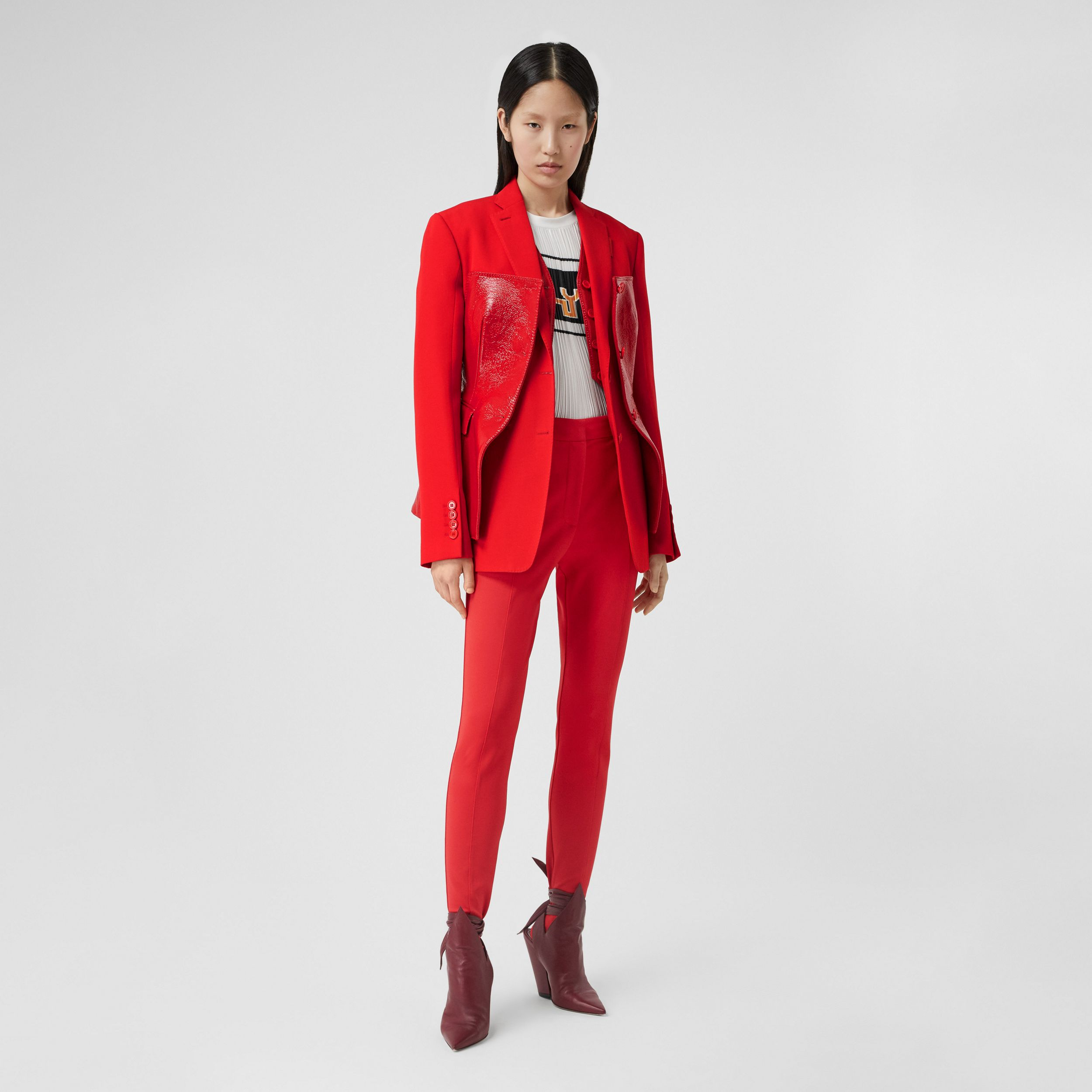 Vinyl Corset Detail Wool Tailored Jacket in Bright Red - Women | Burberry - 1