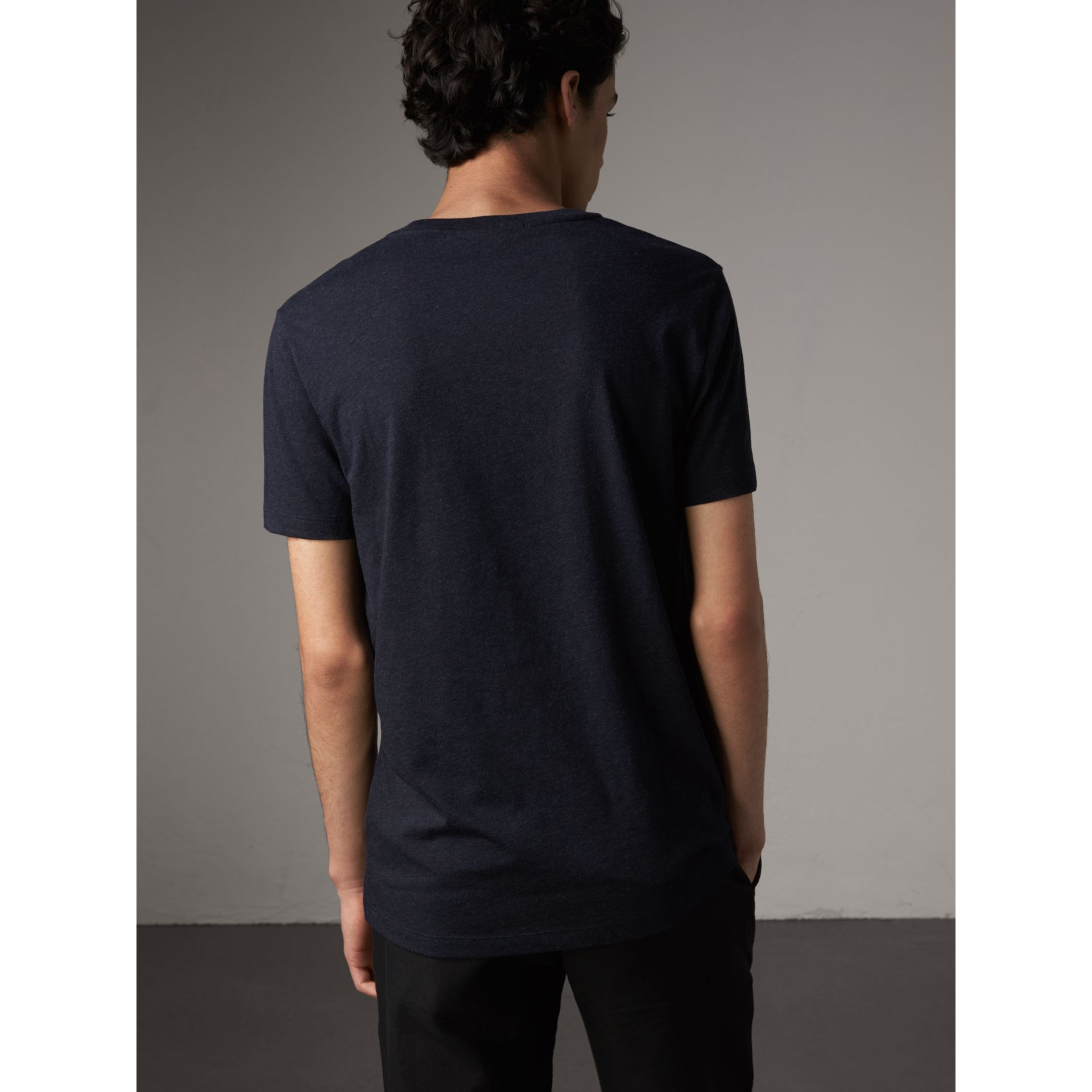 Devoré Cotton Jersey T-shirt in Navy Melange - Men | Burberry United Kingdom - gallery image 2