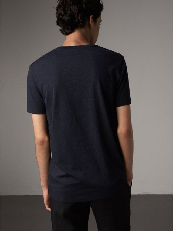 Devoré Cotton Jersey T-shirt in Navy Melange - Men | Burberry United Kingdom - cell image 2