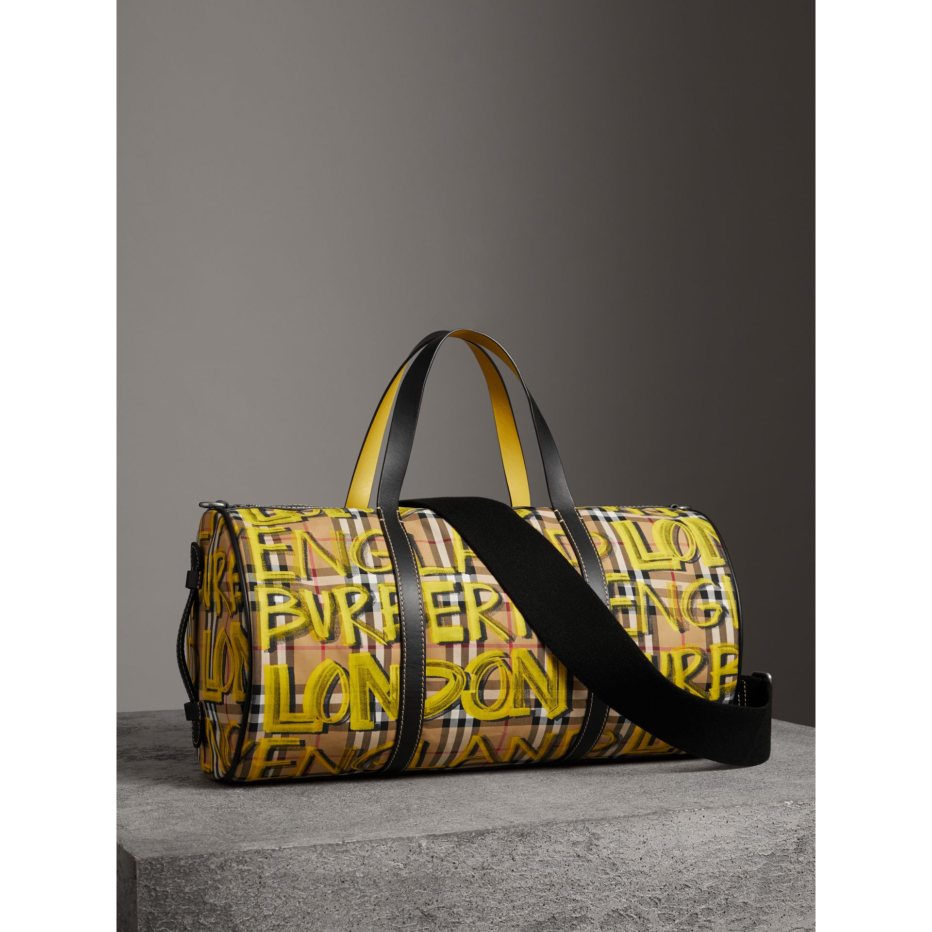 Medium Graffiti Print Vintage Check Barrel Bag in Bright Yellow/antique Yellow - Men | Burberry United States - gallery image 4
