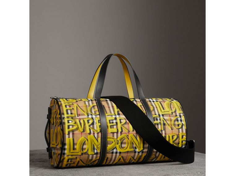 Medium Graffiti Print Vintage Check Barrel Bag in Bright Yellow/antique Yellow - Men | Burberry - cell image 4