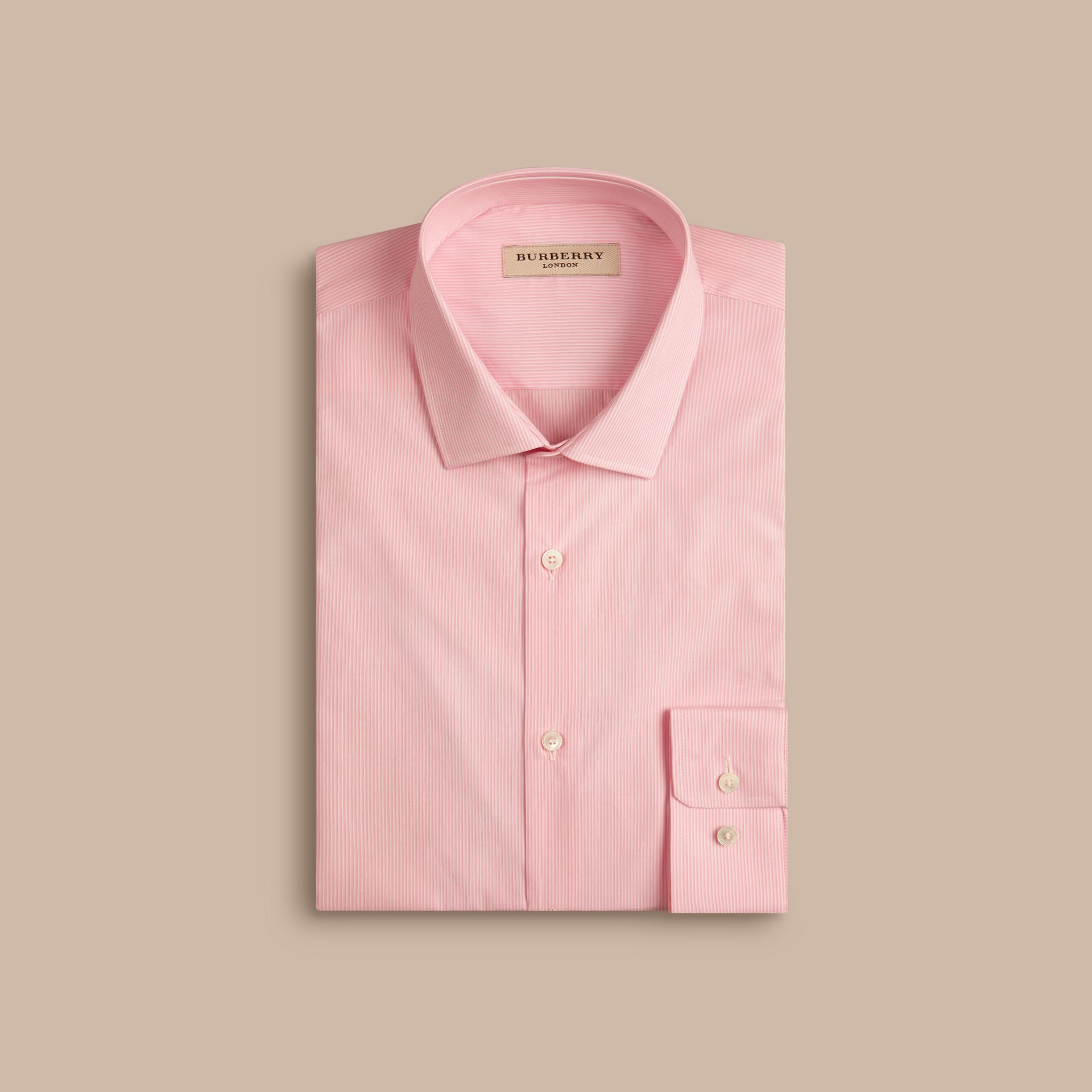 Slim Fit Cotton Poplin Shirt in City Pink - Men | Burberry - gallery image 4