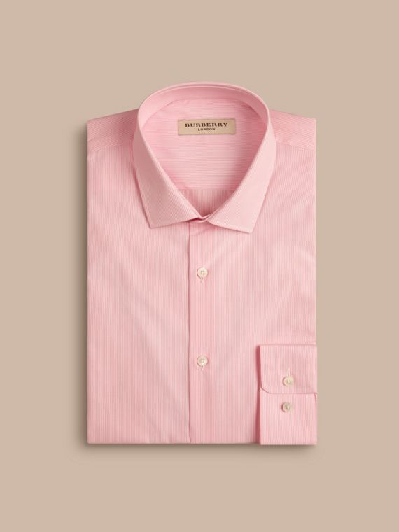 Slim Fit Cotton Poplin Shirt in City Pink - Men | Burberry - cell image 3