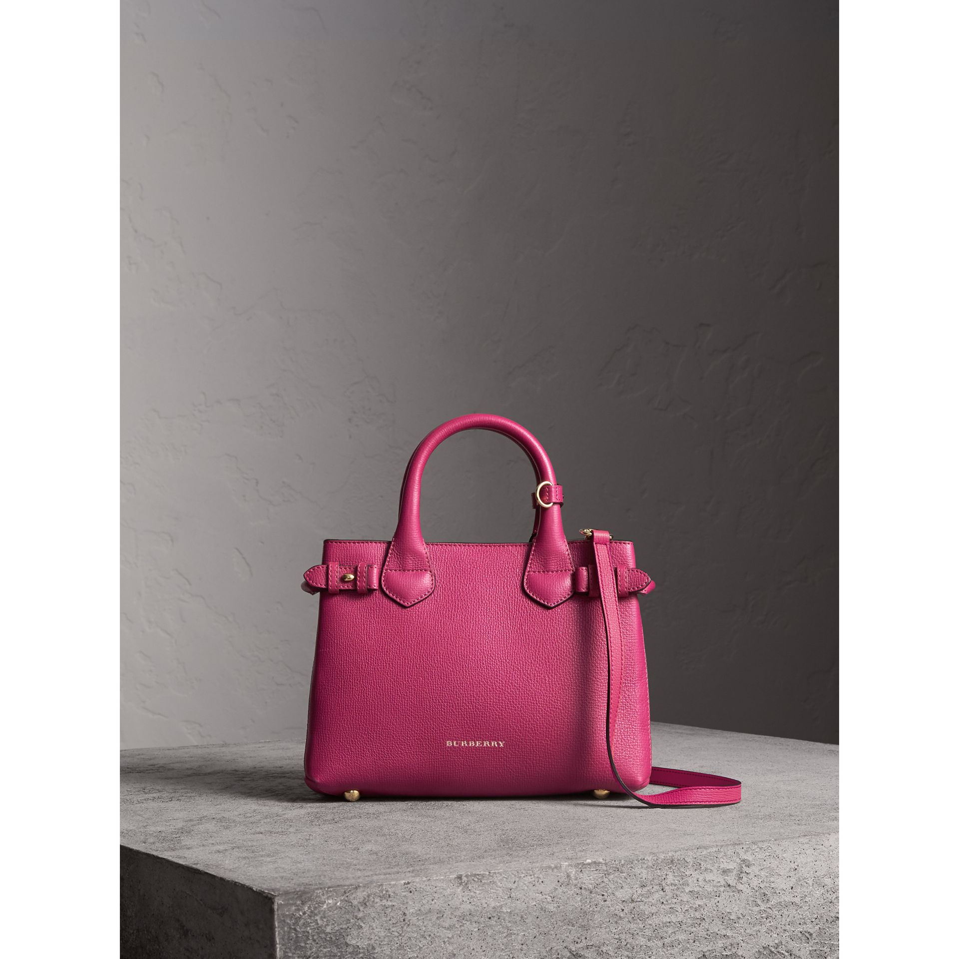 The Small Banner in Leather and House Check in Brilliant Fuchsia - Women | Burberry - gallery image 7