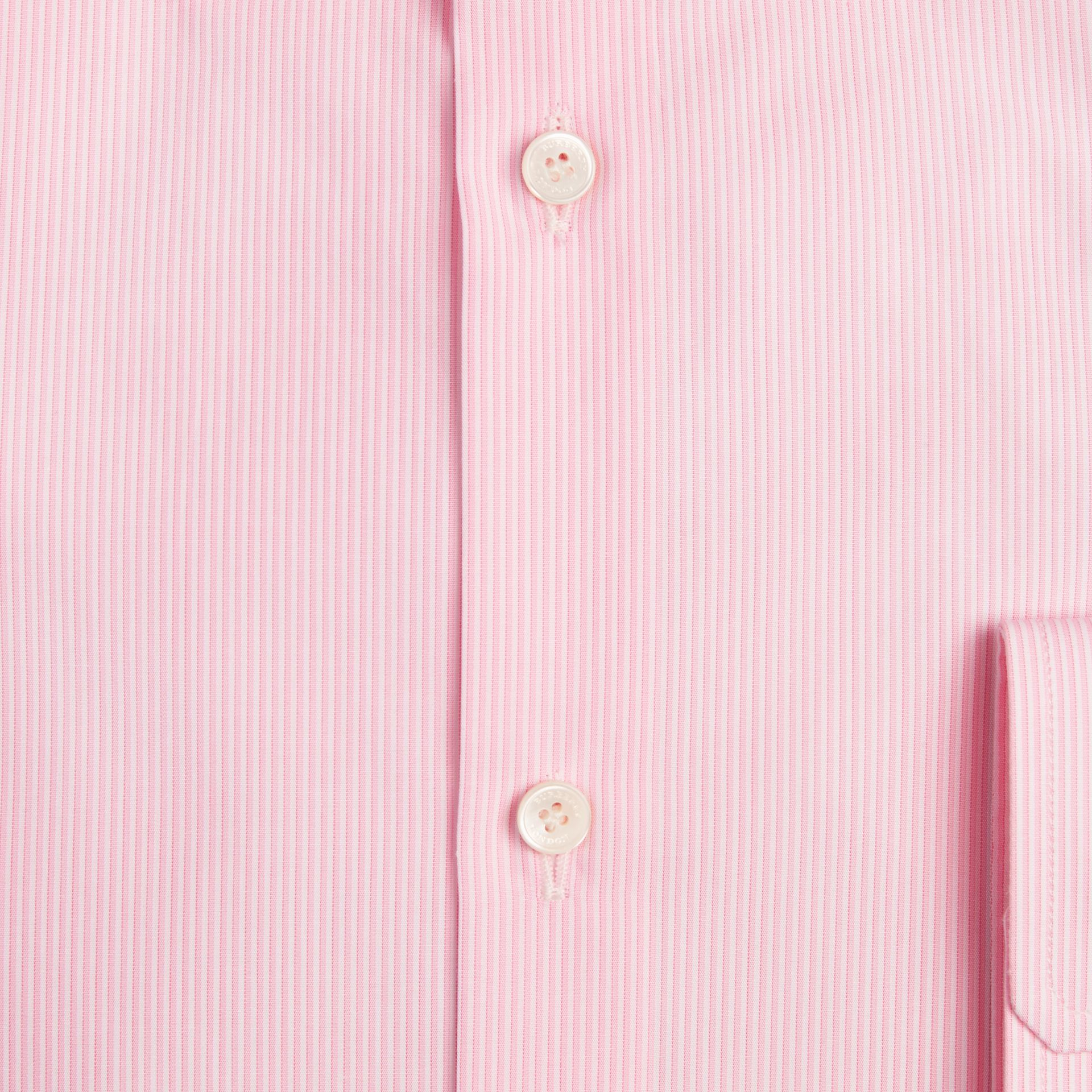 Modern Fit Striped Cotton Poplin Shirt in City Pink - gallery image 2
