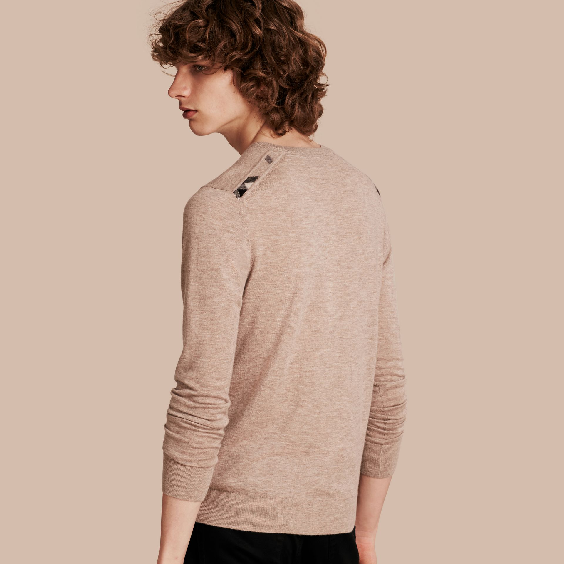 Lightweight Crew Neck Cashmere Sweater with Check Trim in Camel Melange - gallery image 1