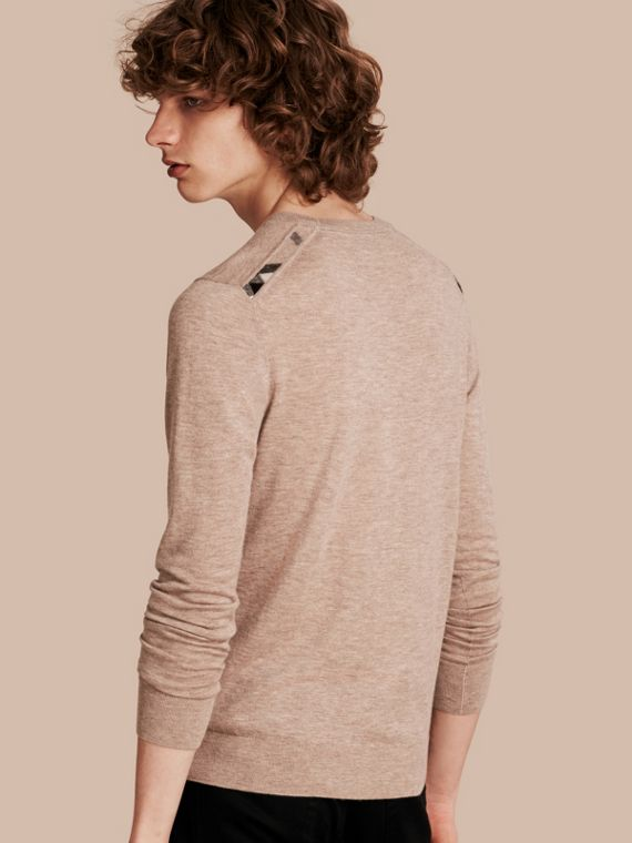 Lightweight Crew Neck Cashmere Sweater with Check Trim in Camel Melange