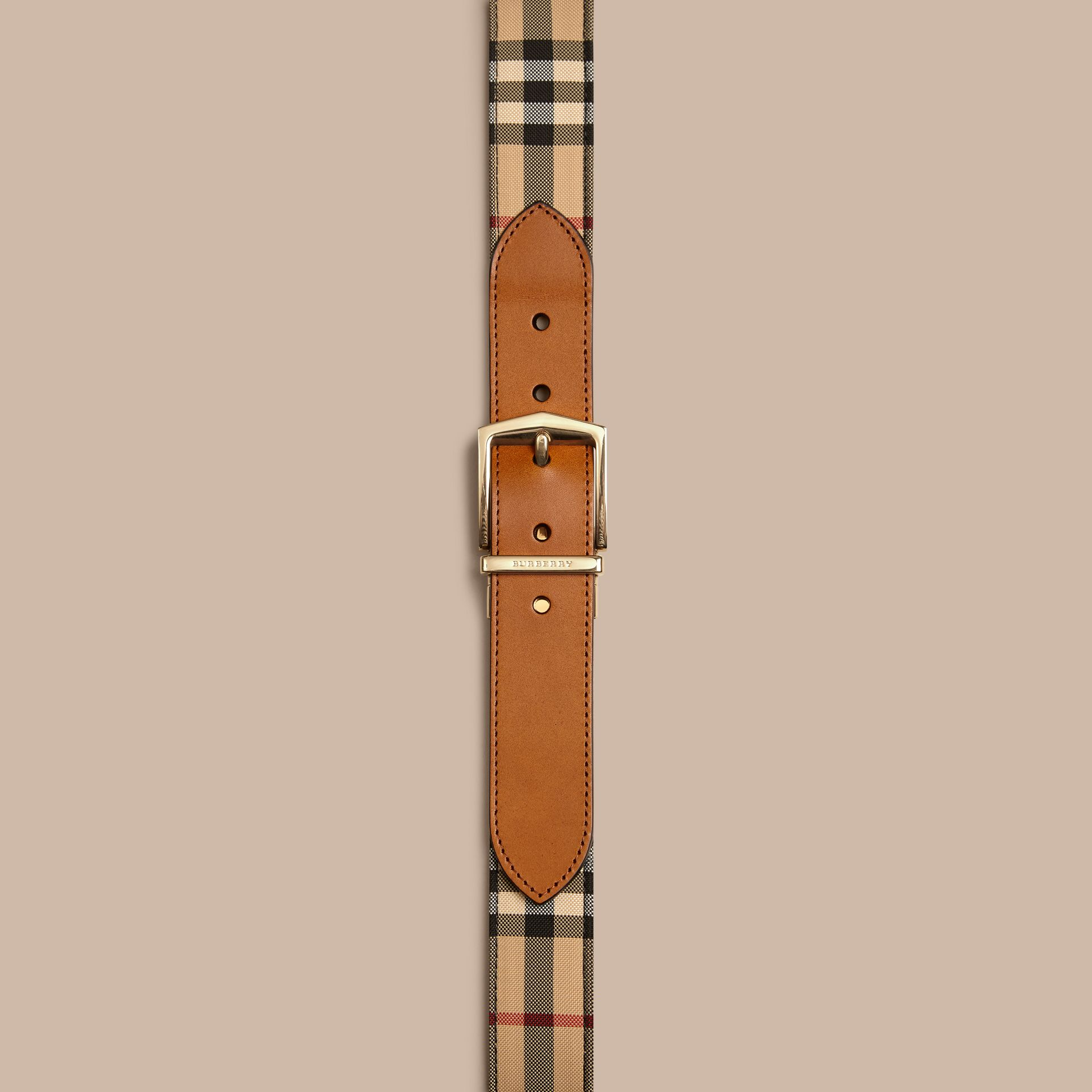Reversible Horseferry Check and Leather Belt in Tan - gallery image 2
