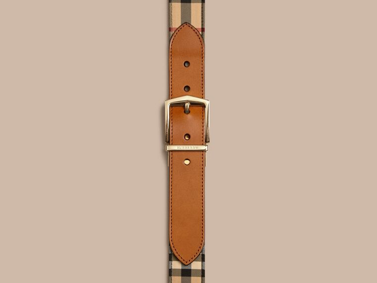 Reversible Horseferry Check and Leather Belt in Tan - cell image 1