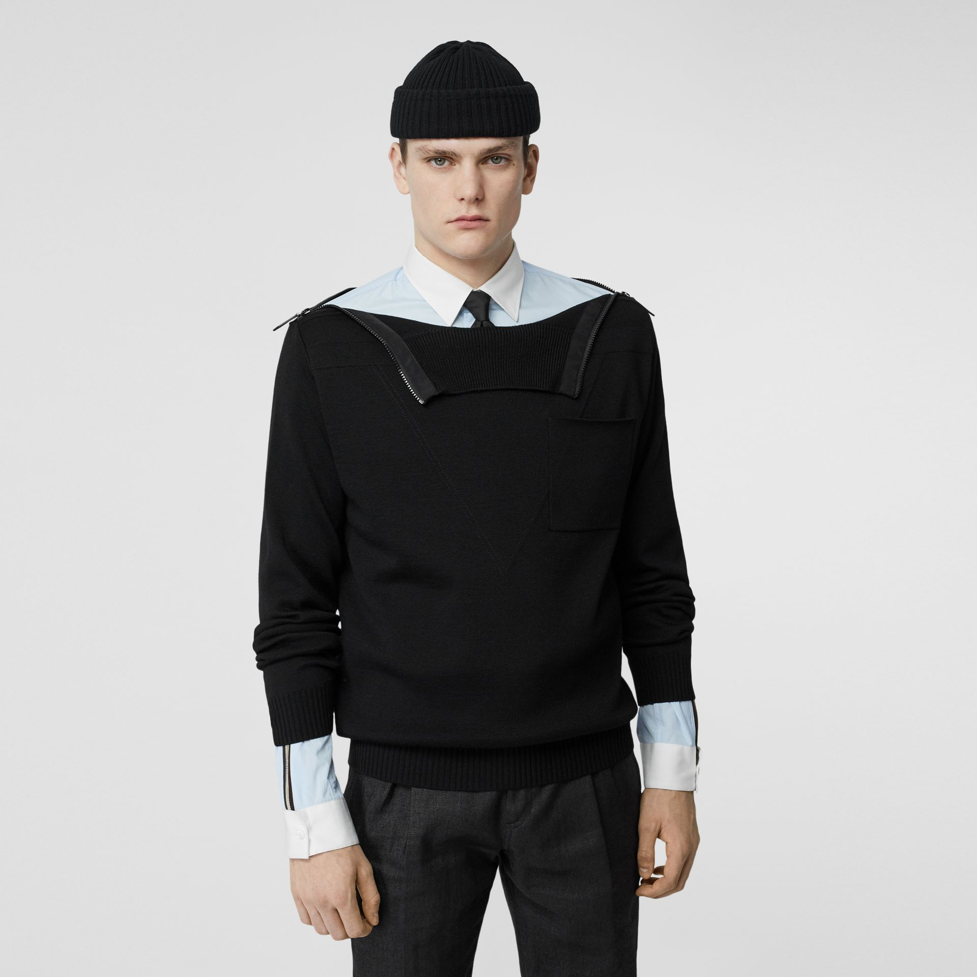 Zip Detail Wool Turtleneck Sweater in Black - Men | Burberry - gallery image 0