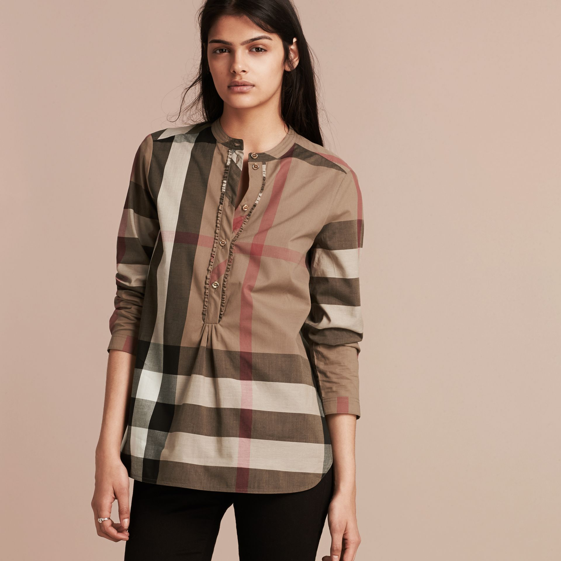 Taupe brown Check Cotton Tunic Shirt Taupe Brown - gallery image 1