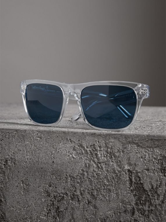 Doodle Square Frame Sunglasses in Crystal - Men | Burberry Singapore - cell image 2