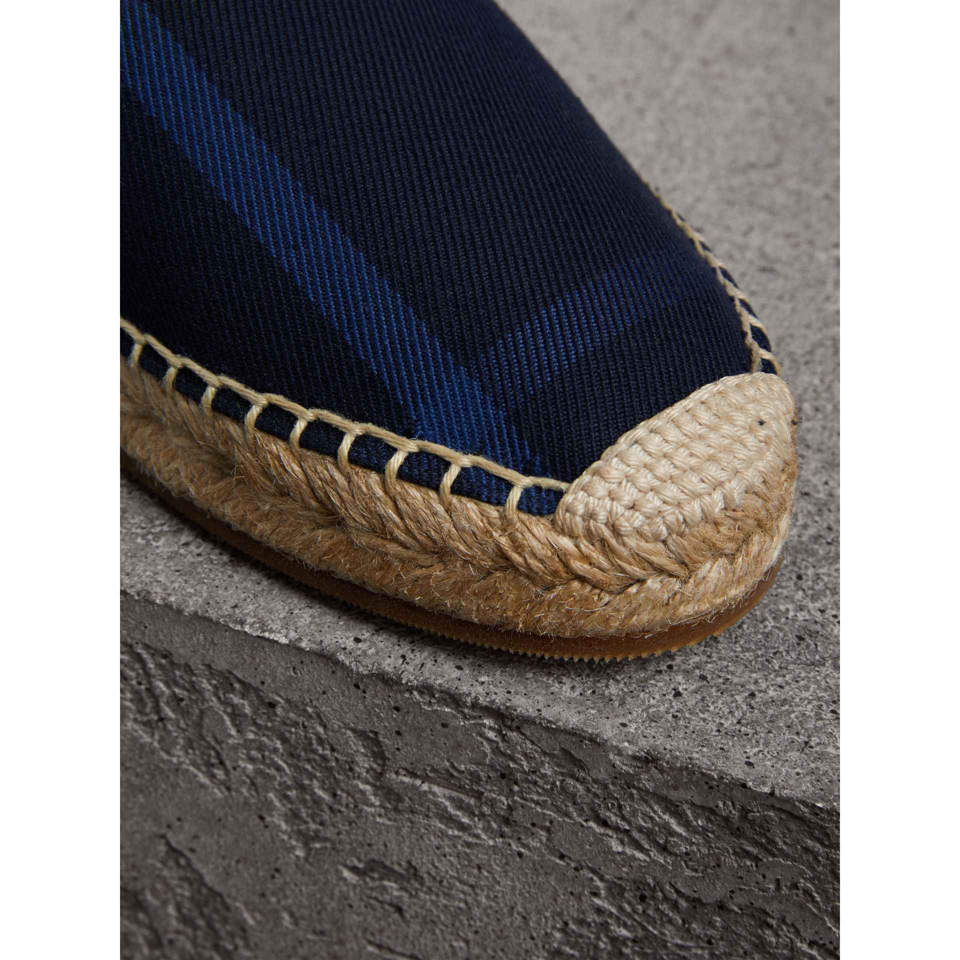 Check Cotton Espadrilles in Indigo Blue - Women | Burberry - gallery image 2