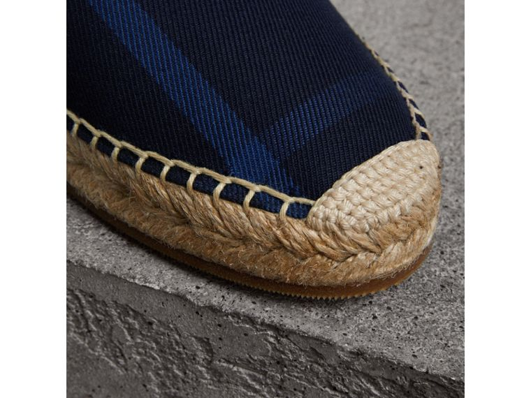 Check Cotton Espadrilles in Indigo Blue - Women | Burberry - cell image 1