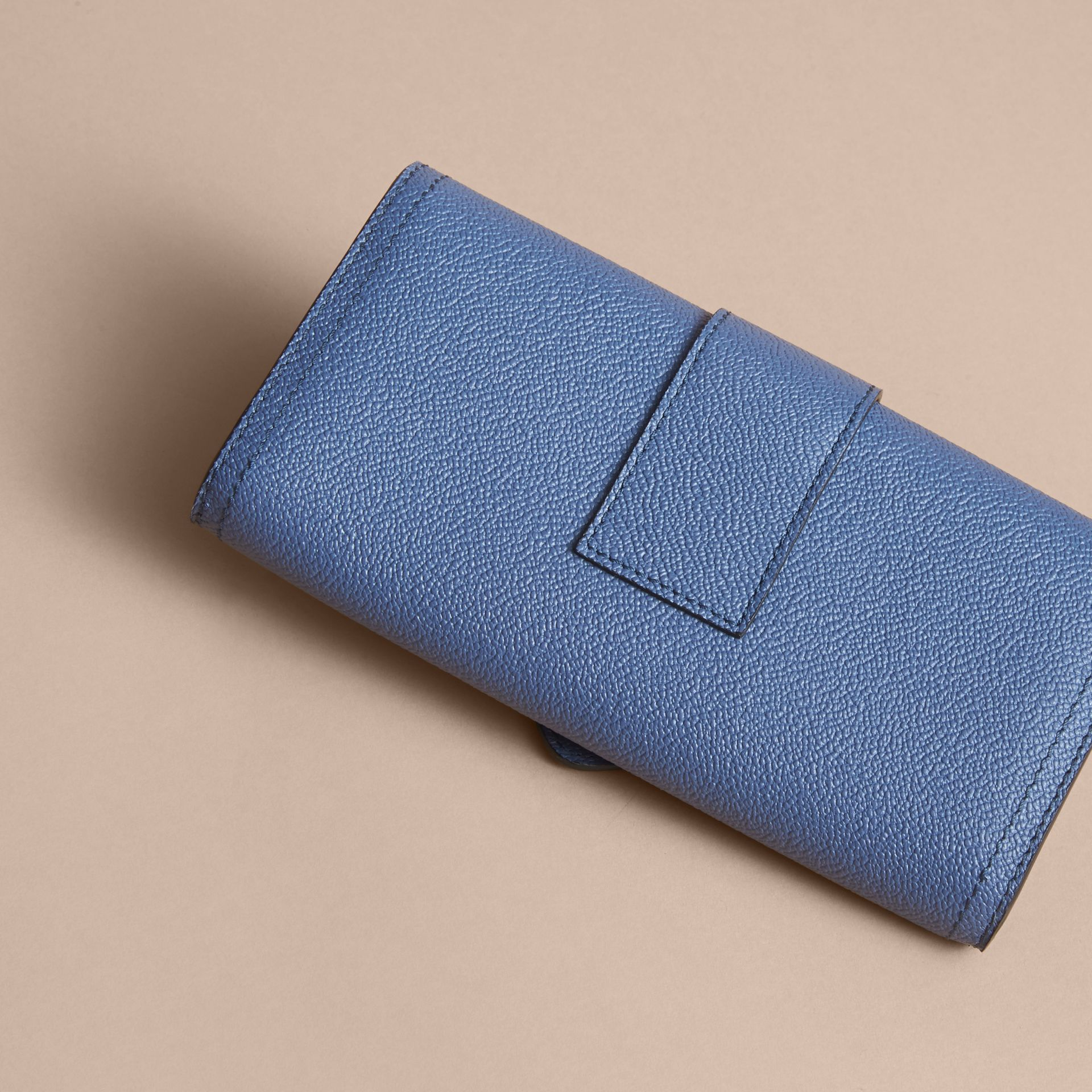 Textured Leather Continental Wallet in Steel Blue - Women | Burberry - gallery image 3