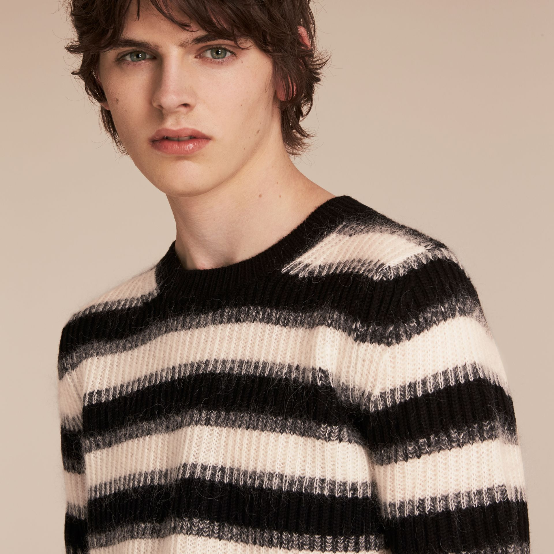 Natural white/black Striped Ribbed Wool Mohair Blend Sweater - gallery image 5