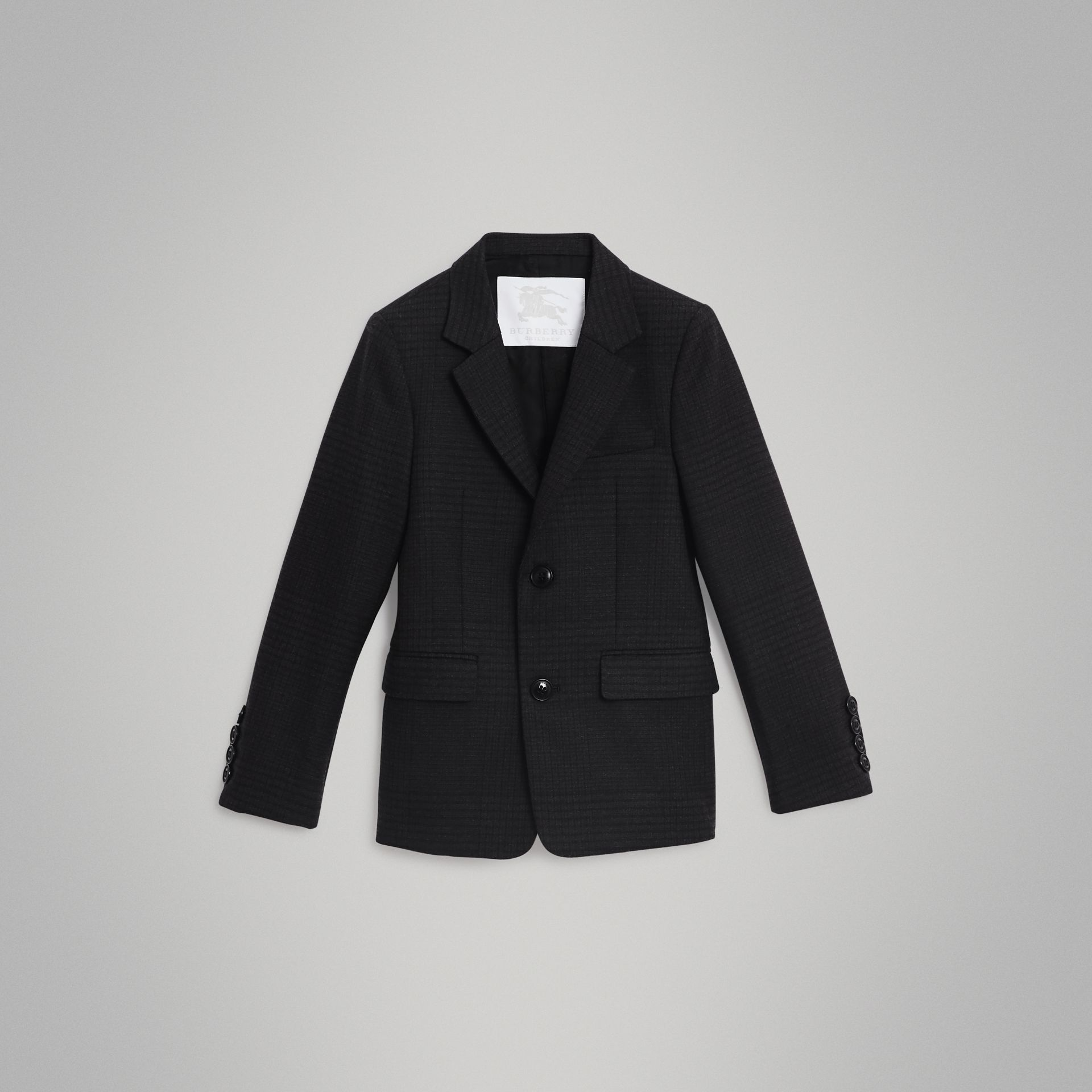 Prince of Wales Check Wool Blazer in Dark Grey | Burberry United Kingdom - gallery image 0