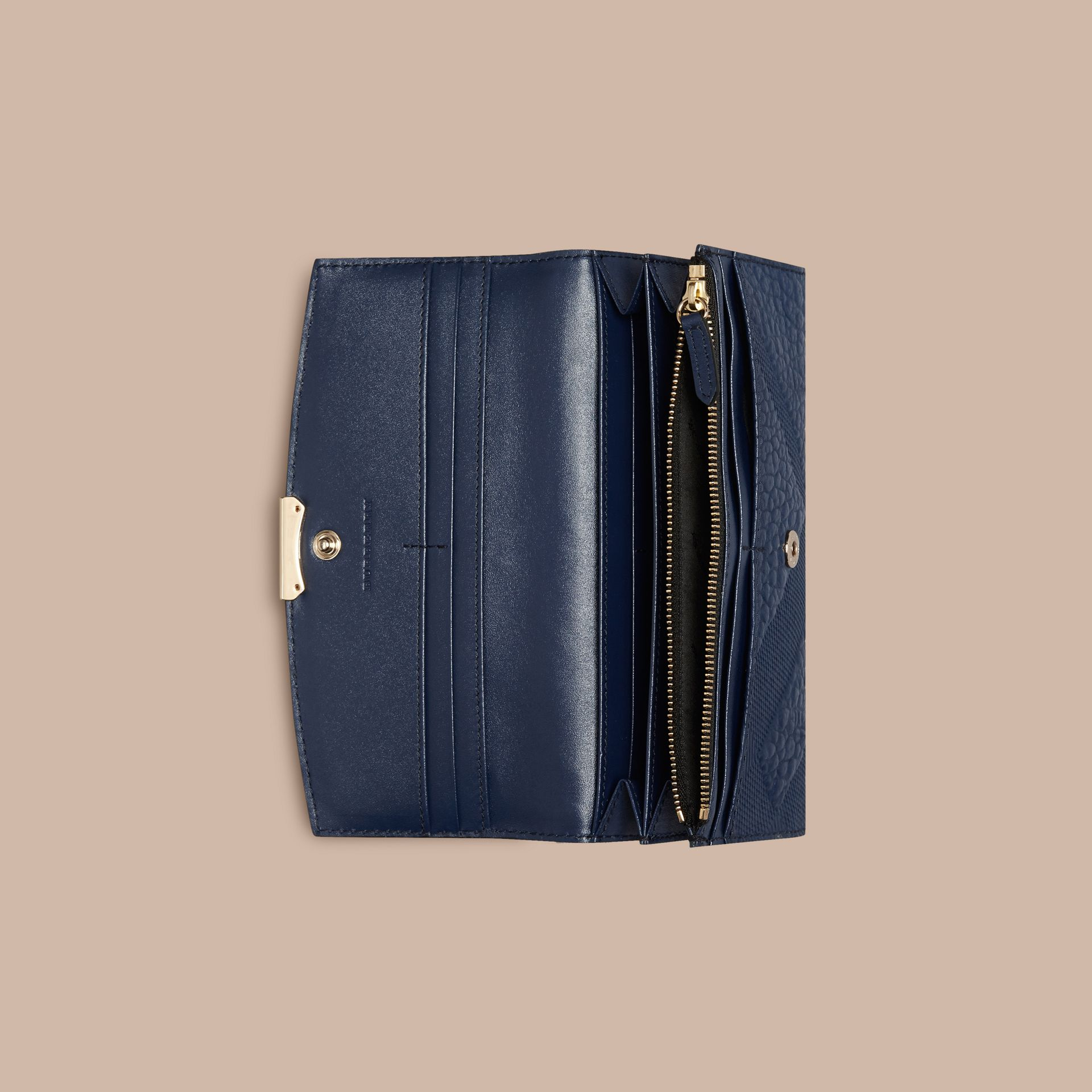 Burberry Embossed Leather Zip Around Wallet: Embossed Check Leather Continental Wallet Blue Carbon