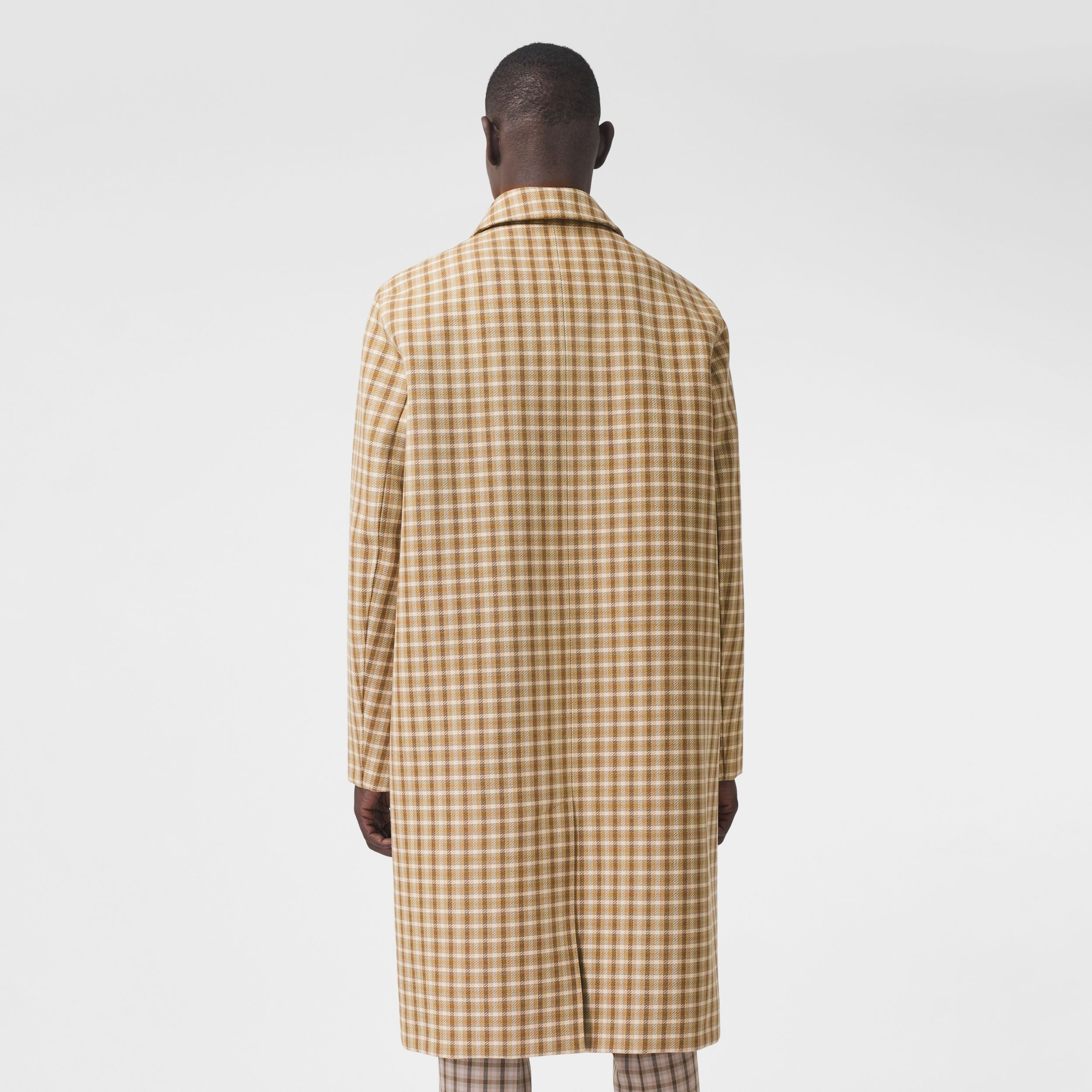 Varsity Graphic Check Bonded Cotton Car Coat in Soft Fawn - Men | Burberry - 3